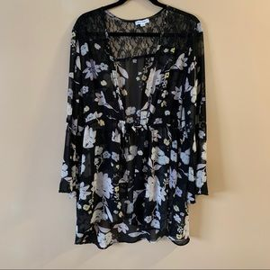 Warehouse one black sheer floral coverup